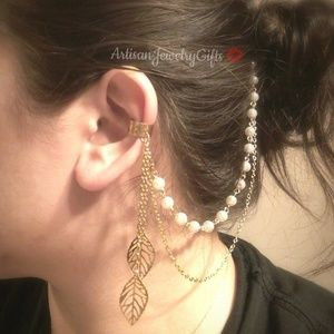 Gold Leaves Ear Cuff Comb Pearl Chain Hair Comb